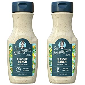 Sir Kensington's Ranch Dressing and Dip, Classic Ranch, Keto Diet & Paleo Diet Certified, Dairy Free, Non- GMO Project Verified, Shelf-Stable, 9 oz (Pack of 2)