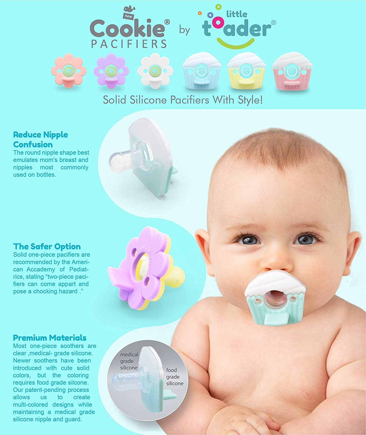 Pink and Purple 3+ Month Daisy Girl Round Nipple - Solid Silicone Little Toader Cookie Baby Pacifier