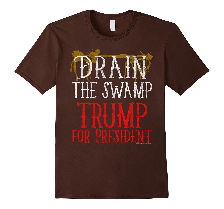Mens Drain the Swamp Vintage Donald Trump 2016 T-Shirt-CD