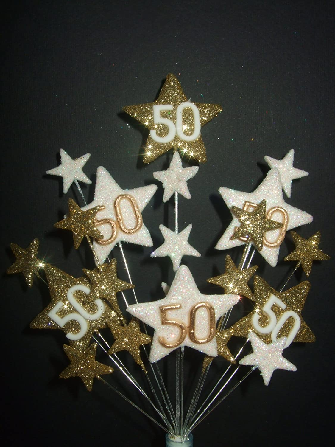 STAR AGE 50TH BIRTHDAY CAKE TOPPER IN GOLD AND WHITE Amazoncouk