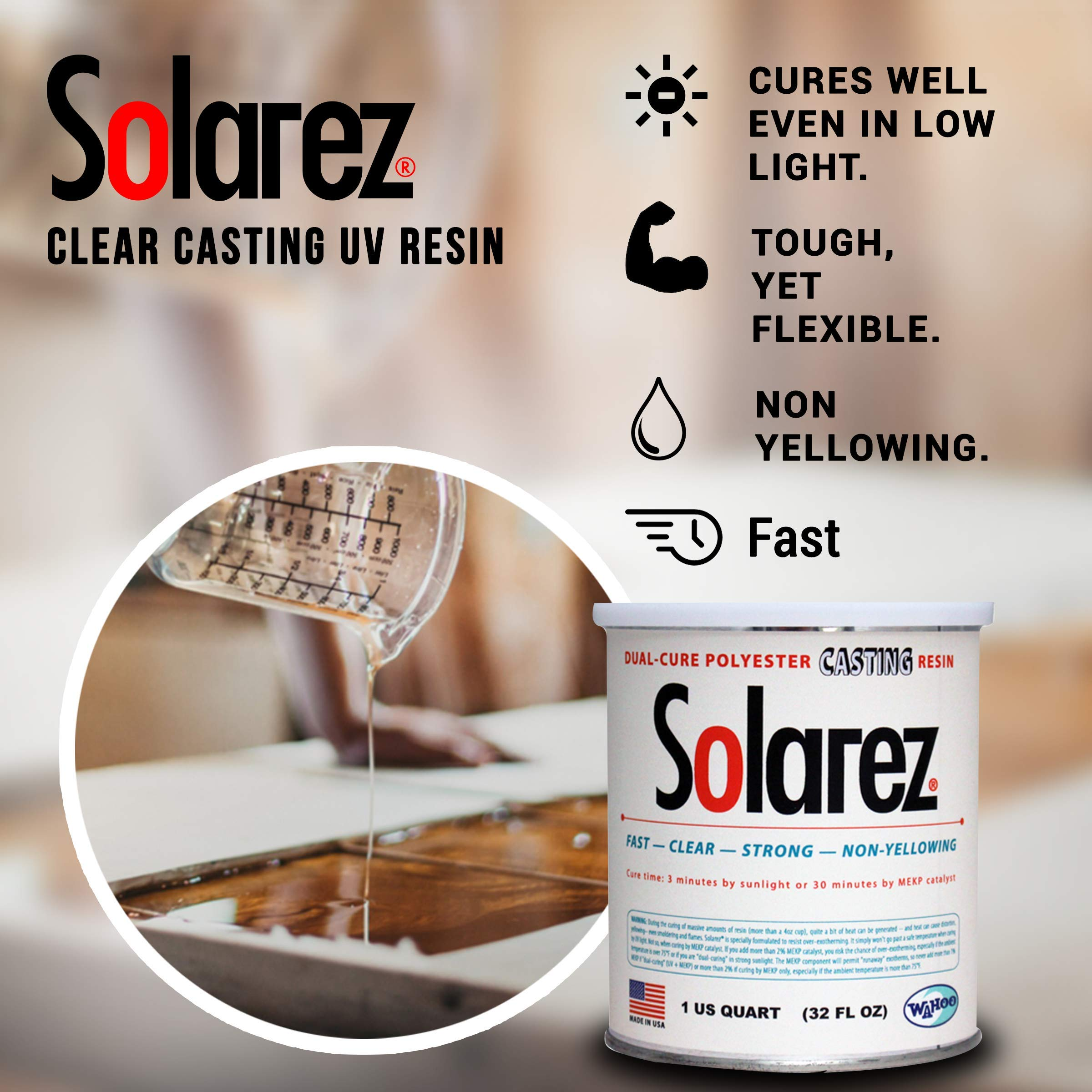 SOLAREZ UV Cure Clear Casting Resin (Gallon) for DIY Jewelry, Hobby, Craft Decoration Making - Crystal Clear Solar Cure Molding and Casting Resin