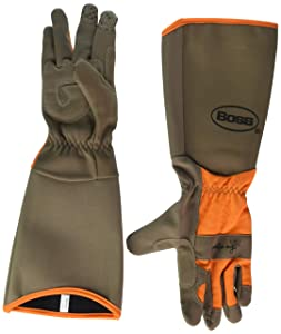 BOSS 8419B Extended Sleeve Ladies Garden Gloves, Synthetic Leather, Orange/Turquoise/Coral