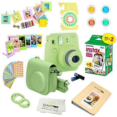 Fujifilm Instax Mini 9 Instant Camera LIME GREEN w/ Film and Accessories – Polaroid Camera Kit
