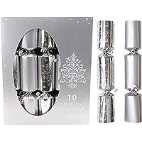 10 Silver Christmas Crackers - 5 Plain 5 Christmas Tree Design