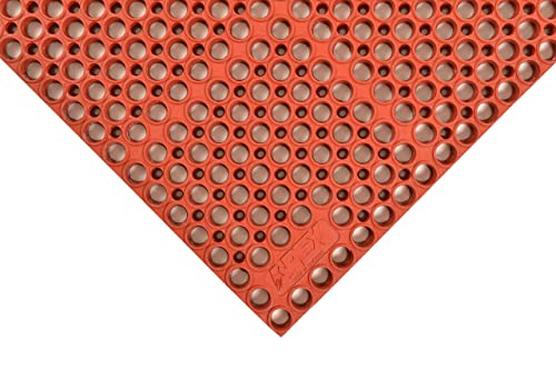 NoTrax T11 Heavy Duty Nitrile Rubber San-Eze II Safety Anti-Fatigue Mat, for Wet or Greasy Areas, 39 Width x 58-1 2 Length x 7 8 Thickness, Red