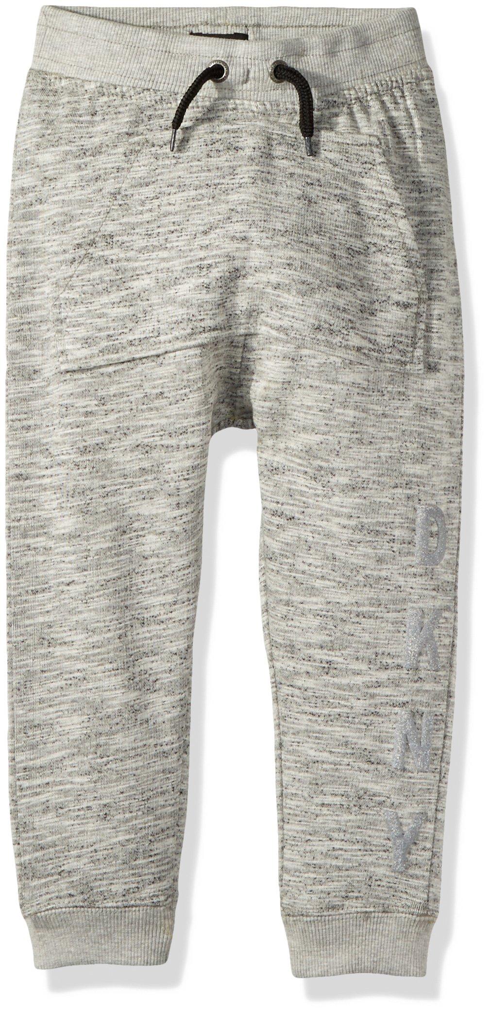 DKNY Big Boys' Marled Fleece Pull on Jog Pant, Heather Light, 10/12