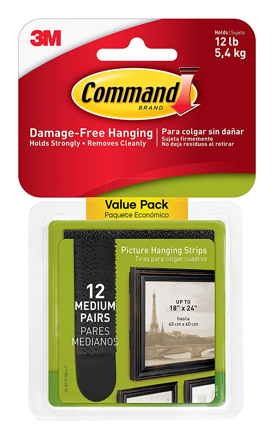 Command Damage-Free Picture Hanging Strips, White, 2 pairs hold 6 lbs, Decorate and Hang without Tools, Create Wall Collages, Indoor, 12 Pairs, Gallery Wall Pack (17204-12ES)