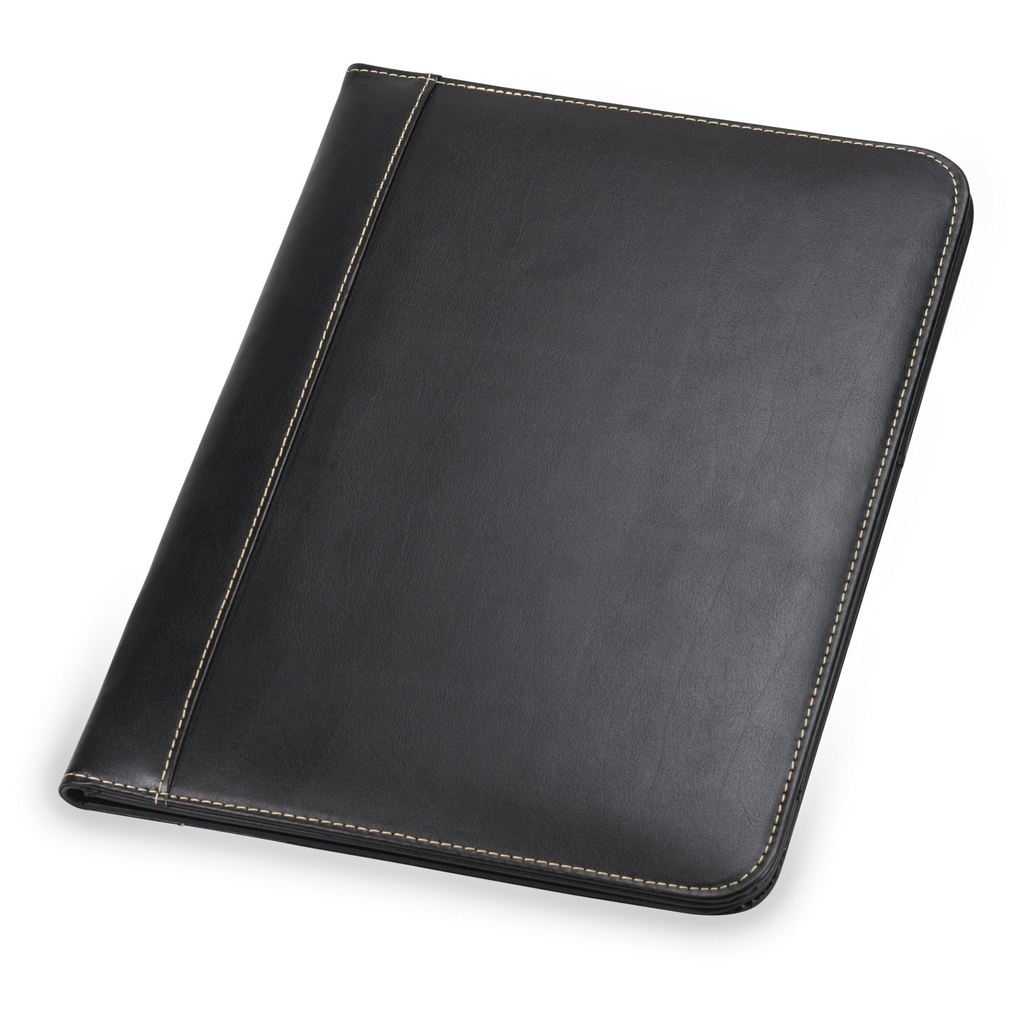 Samsill 71710 Contrast Stitch Leather Padfolio - Lightweight & Stylish Business Portfolio for Men & Women - Resume Portfolio, 8.5 x 11 Writing Pad, Black by Samsill