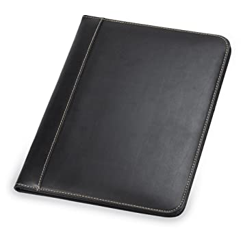 samsill contrast stitch leather padfolio lightweight stylish business portfolio for men women