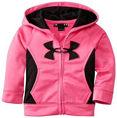 Under Armour Baby Girls Solid Logo Hoodie, Chaos, 12 Months