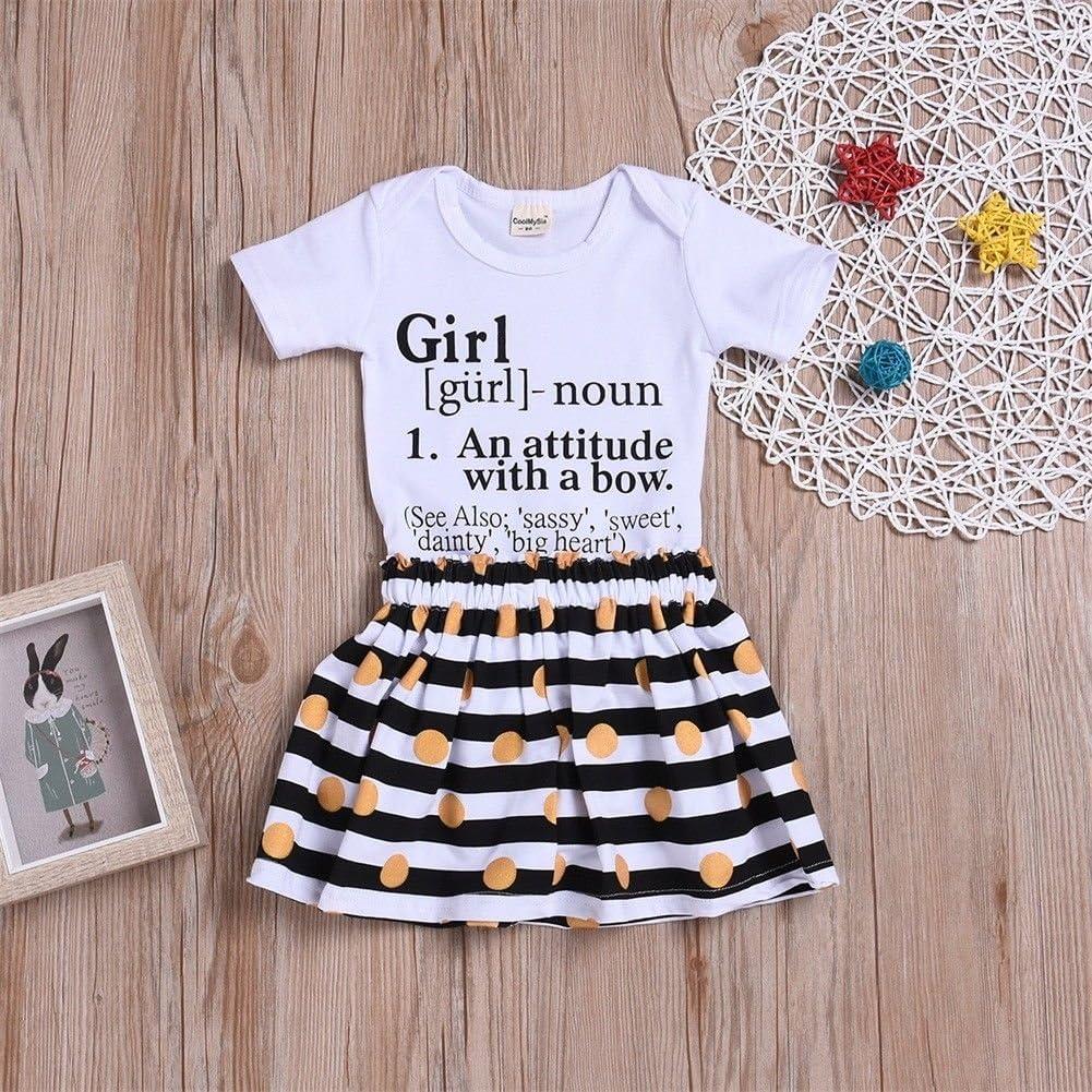 Infant Baby Toddler Girls Attitude Bodysuit Romper+Gold Polka Dot Skirt 2PCS Summer Outfits