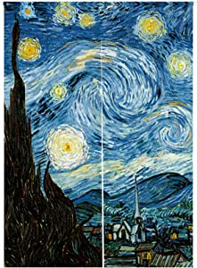 "LIGICKY Japanese Style Doorway Curtain Noren Cotton Linen Van Gogh Art Starry Night Printed Window Treatment Hanging Door Tapestry for Sushi Kitchen Home Decoration 33.5"" Width x 47.2"" Long, Blue"