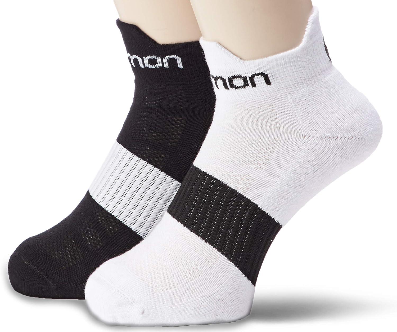 Salomon, calzini da corsa Sense Running, in confezione doppia, colore: nero e bianco o bianco e nero, con sagomatura precisa, suola imbottita e zona di ventilazione