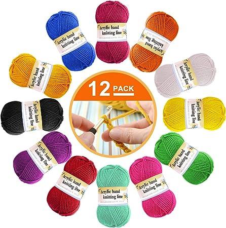 Paquete de 12 ovillos de lana acrílica – Lana de ganchillo multicolor para tejer, paquetes de hilo
