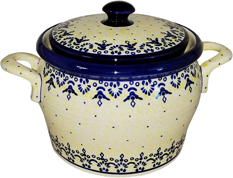 Polish Pottery Bean Pot Covered Baker Eva S Collection Lace Garden Outdoor