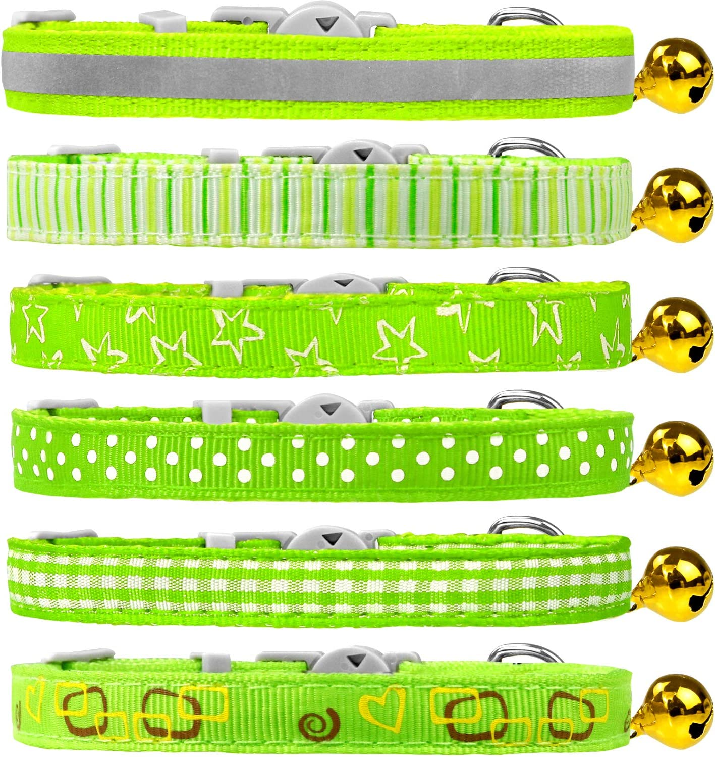 Dynmeow 6 Pack Cat Collar Breakaway with Removable Bell