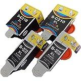 vhbw 4x Druckerpatronen Tintenpatronen Set mit Chip für Samsung CJX-1000, CJX-1050, CJX-1050W wie INK-C210, INK-M210, INK-M215.