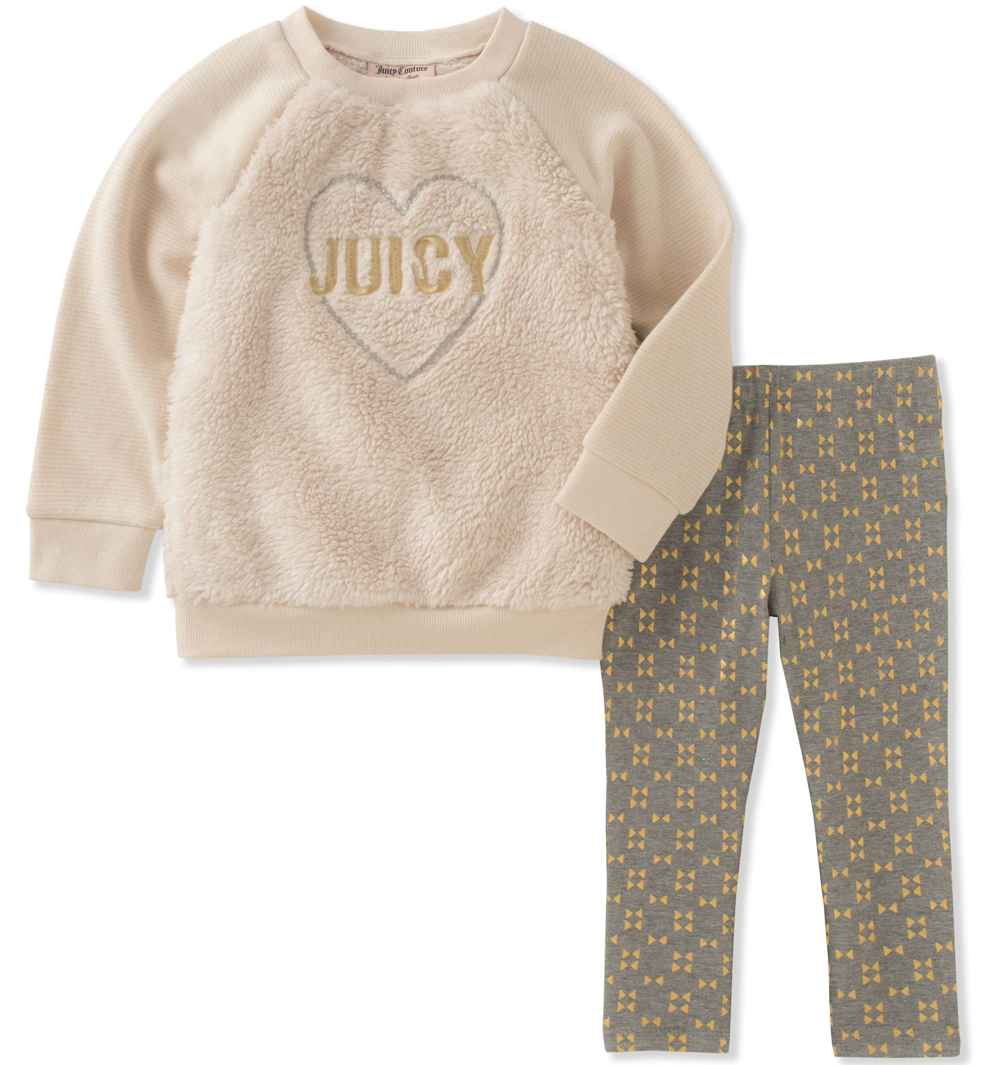 Juicy Couture Little Girls' Faux Fur Pant Sets, Egret/Printed Dark Heather Grey, 6