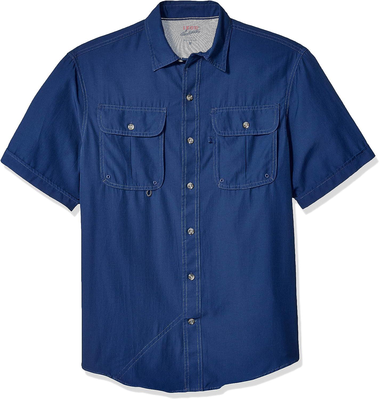 Izod Mens Saltwater Surfcaster Button Down Short Sleeve Print Shirt Button Down Shirt