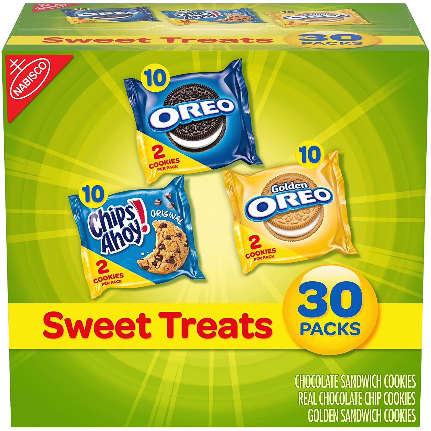 Nabisco Sweet Treats Cookie Variety Pack OREO, OREO Golden & CHIPS AHOY, 30 Snack Packs