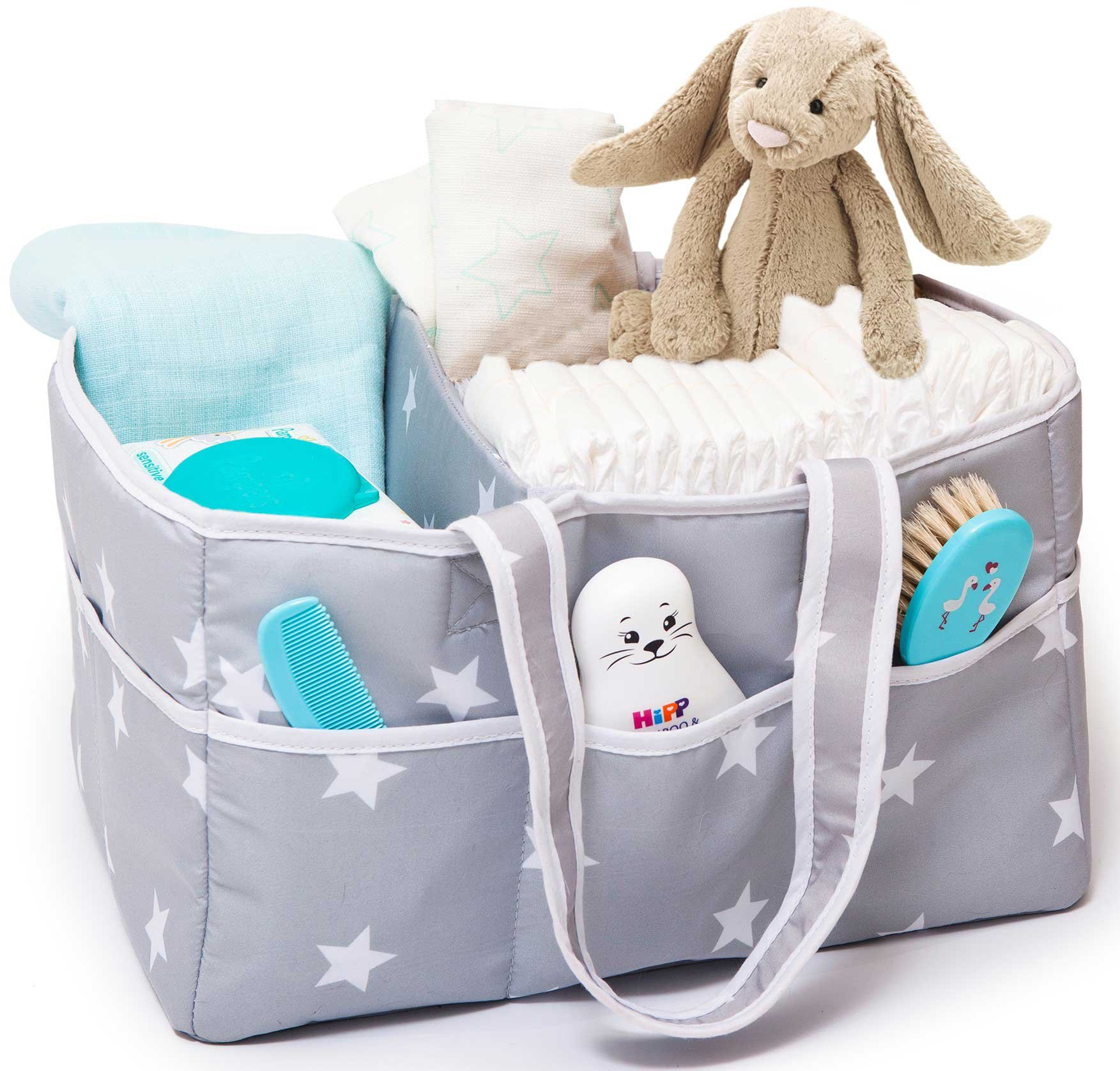 Large Portable Baby Diaper Caddy Organizer for All Diaper Sizes, Nursery Storage Bin and Changing Table Basket, Car Travel Organizer, Baby Shower Basket, Baby Registry Must Have