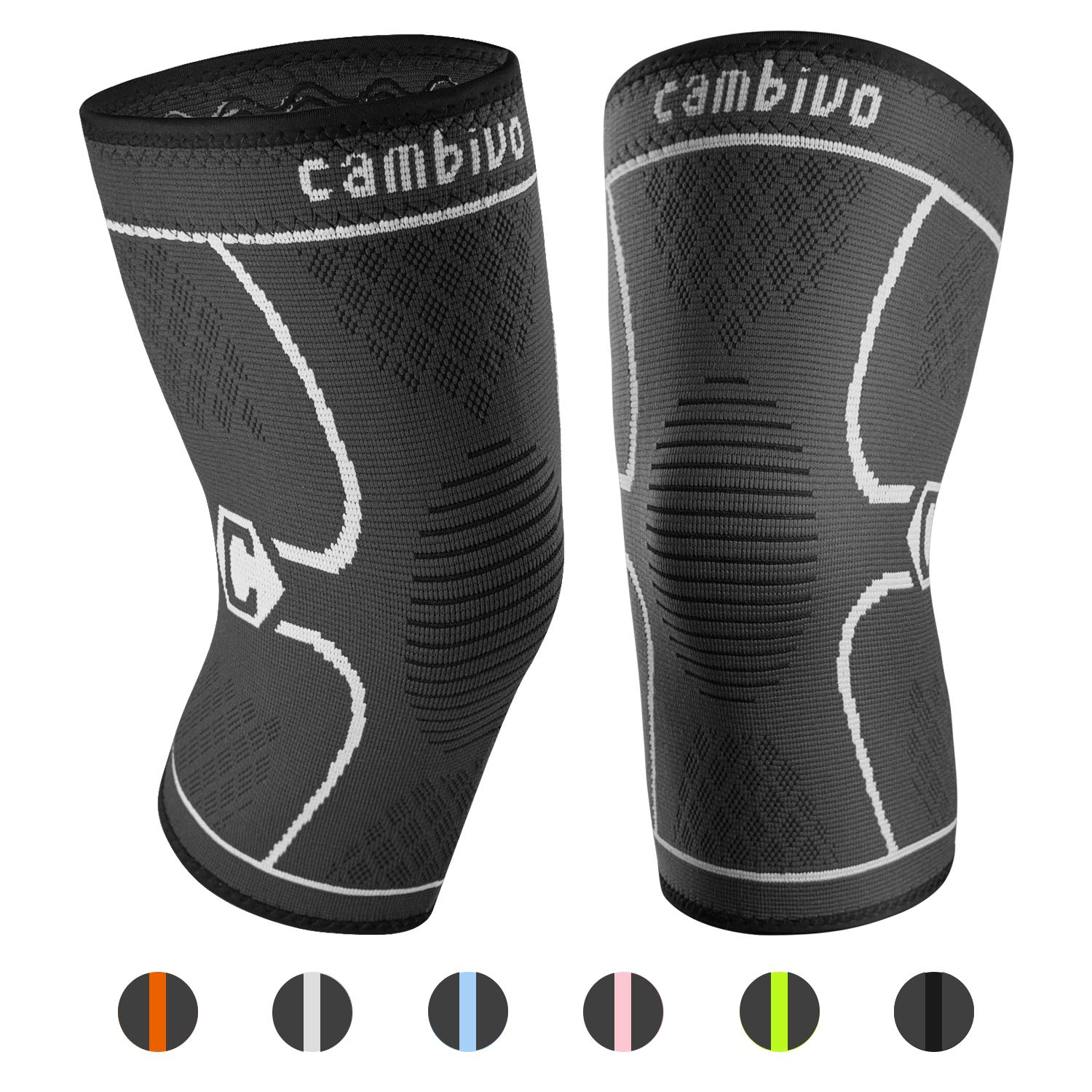 CAMBIVO 2 Pack Knee Brace, Knee Compression Sleeve Support for Running, Arthritis, ACL, Meniscus Tear, Sports, Joint Pain Relief and Injury Recovery (Small, Black/Gray)