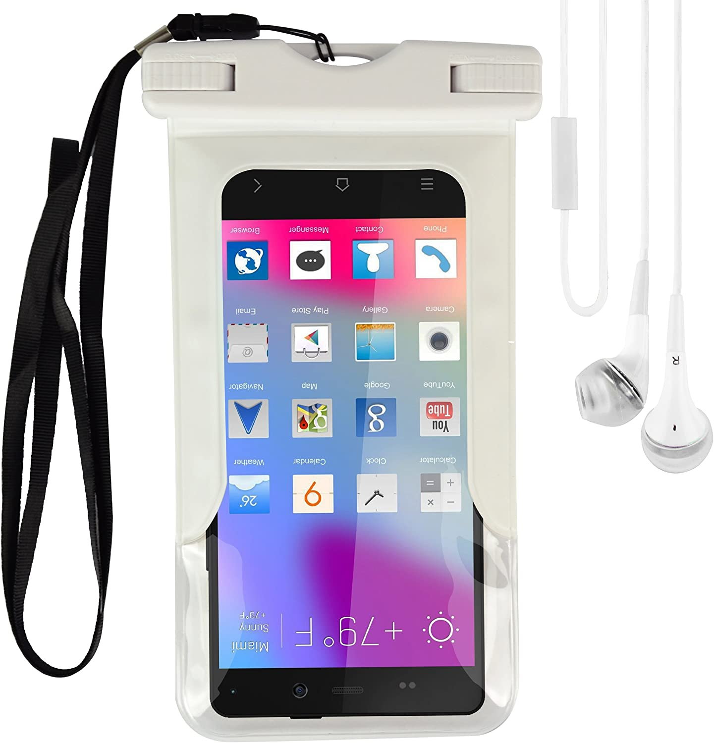New Universal TPU Waterproof Case Cover Pouch Dry Bag with Armband and Neck Strap for BLU Life Pure XL, Life Pure, Dash 5.5, Studio X Plus, Studio 5.5 K Fit 5 , 5.5 Inch Smart Phone , White