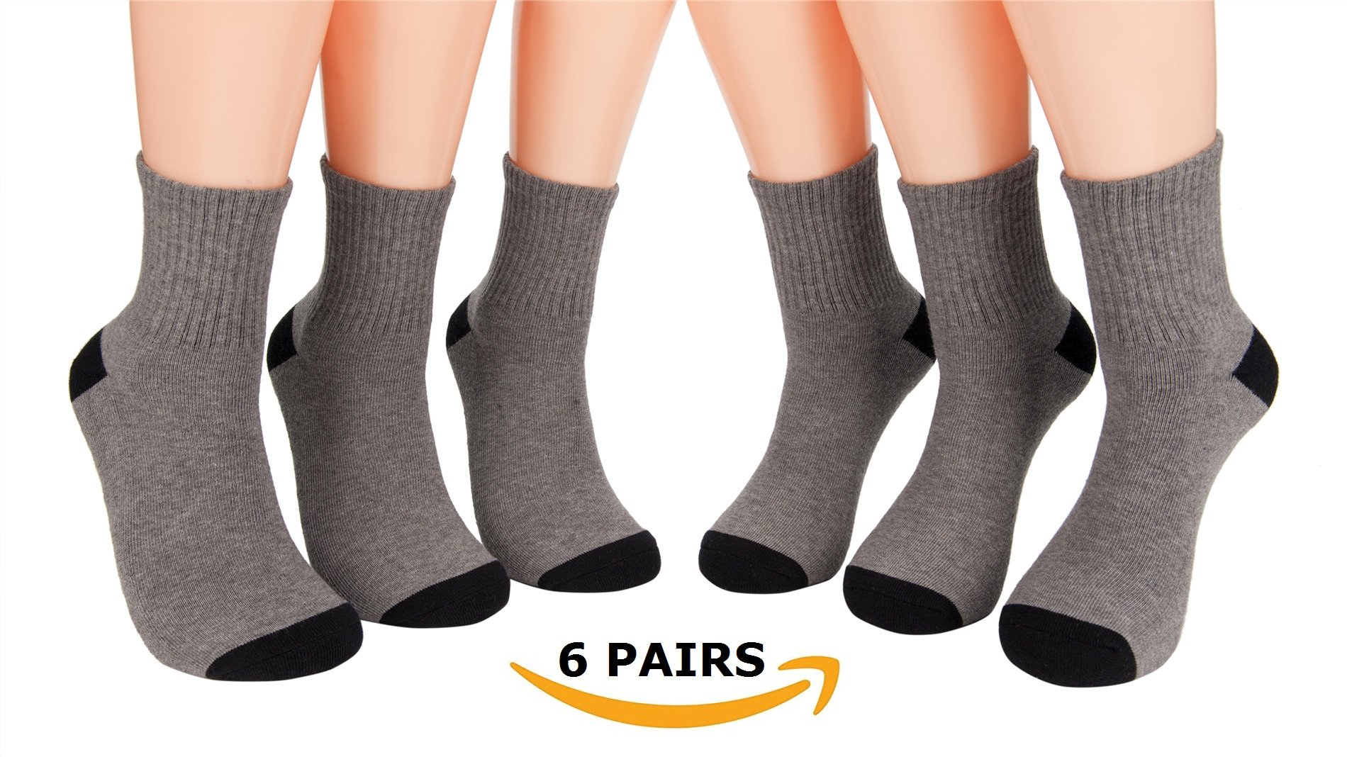 YESYEES 6-Pairs Men's Socks Cushioned Work Sport Training Socks (Quarter Socks Grey)