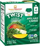Happy Squeeze Twist Organic, Apple Kale Mango, 3.17 Ounce (Pack of 16) (Pack May Vary)