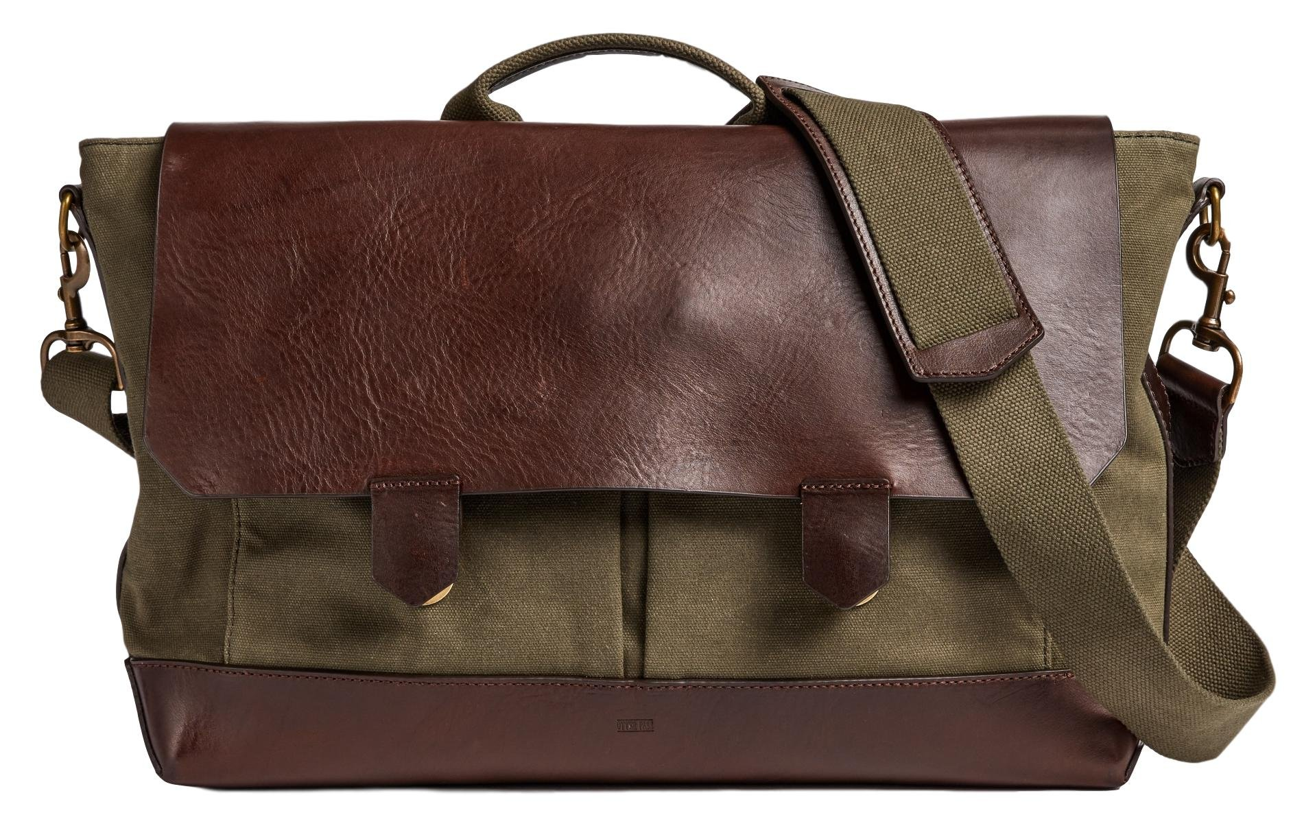 Otter Pass Messenger Bag in Leather & Canvas - Olive & Espresso
