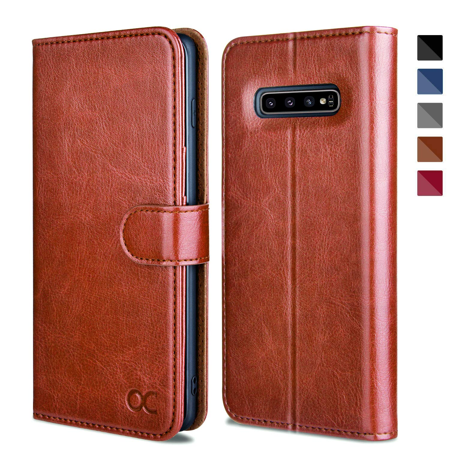 Blue Kickstand Leather Flip Wallet Case for Samsung Galaxy S10 Plus // S10+ Devices Card Slot TPU Shockproof Interior OCASE Samsung Galaxy S10 Plus // S10+ Case
