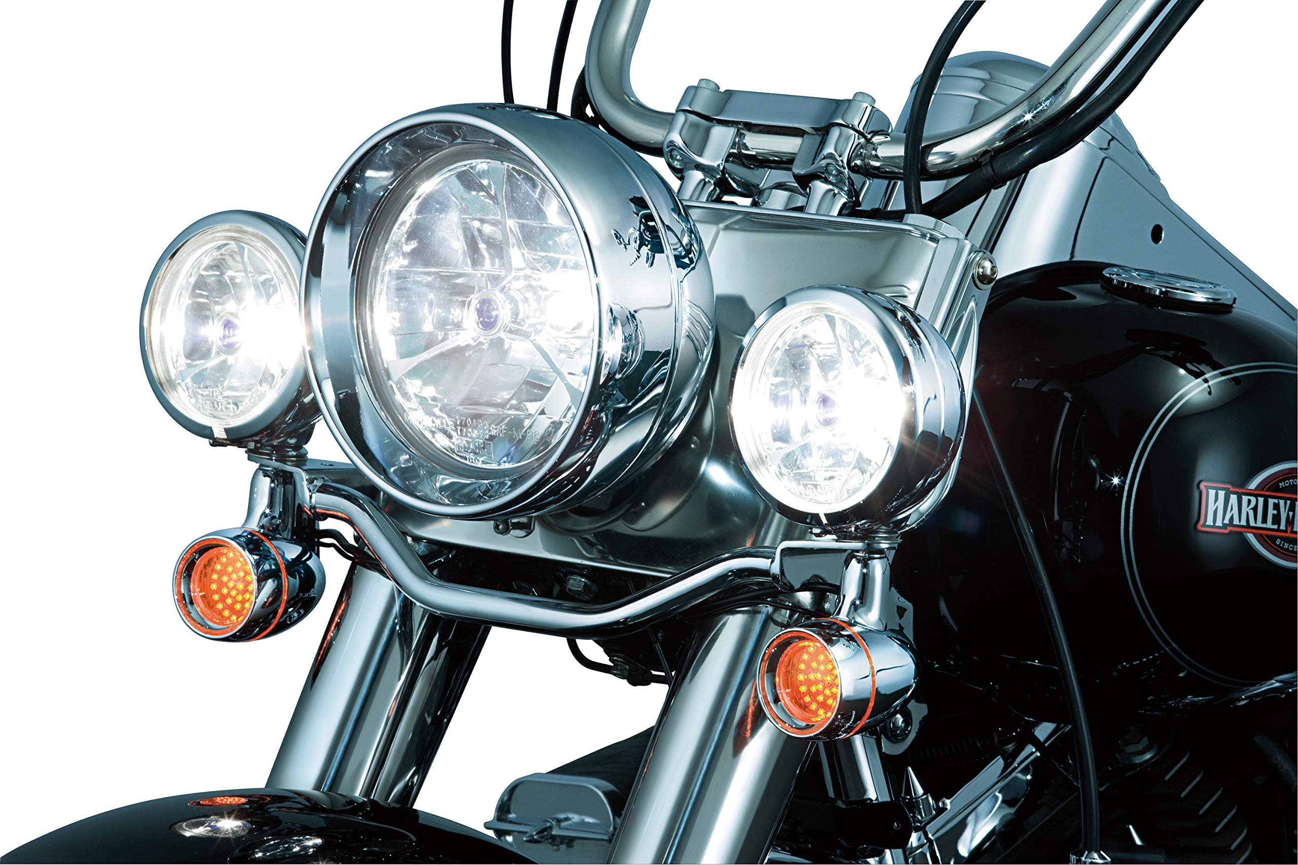 Chrome Kuryakyn 3162 Motorcycle Accent Accessory Curved License Plate Holder Frame on Bullet Style Light Bar for 1986-2019 Harley-Davidson Motorcycles