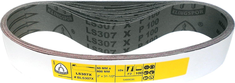 Klingspor LS 307 X Lot de 10 bandes abrasives 50 x 800 mm Grain au choix LS 307 X