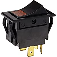 NSi Industries, LLC Rocker Switches, On Off Circut Function, DPST, 15/10 amps at 125/250 VAC, 1.088″ Width, 0.426″ Height, 0.709″ Depth, Amber - 77020RQ