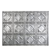 """Fasade Easy Installation Traditional 4 Crosshatch Silver Backsplash Panel for Kitchen and Bathrooms (18"""" x 24"""" Panel)"""