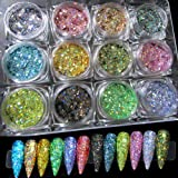LuckForever 12 Colors Holographic Nail Glitter Sequins Powder Laser Sparkle Resin Art Glitter for Crafts, Makeup, Acrylic Nai