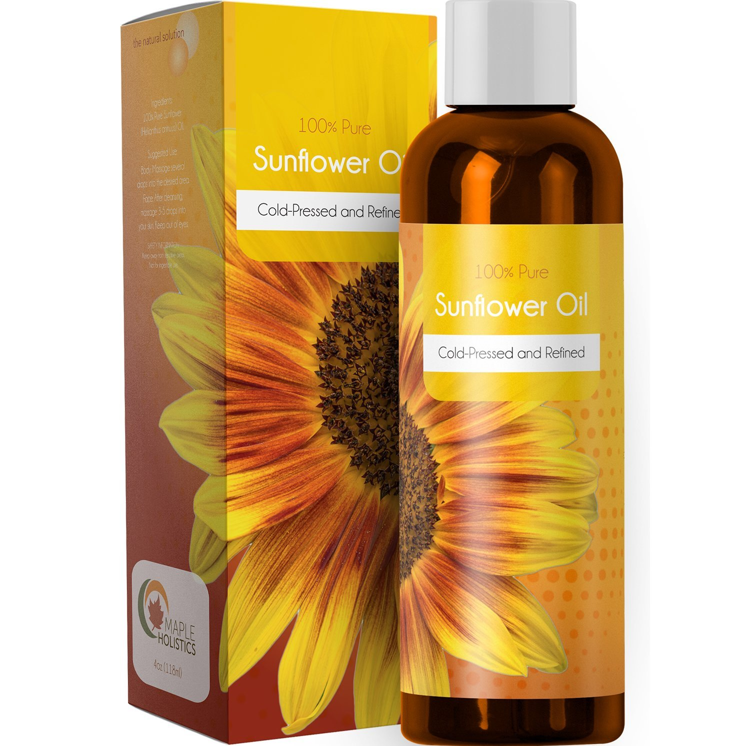 100% Pure Sunflower Seed Oil Anti-Aging Natural Skin Care and Hair Conditioner Health Beauty Carrier Oil for Aromatherapy Essential Oils Massage Therapy Oil with Antioxidant Vitamin E Moisturizer Maple Holistics
