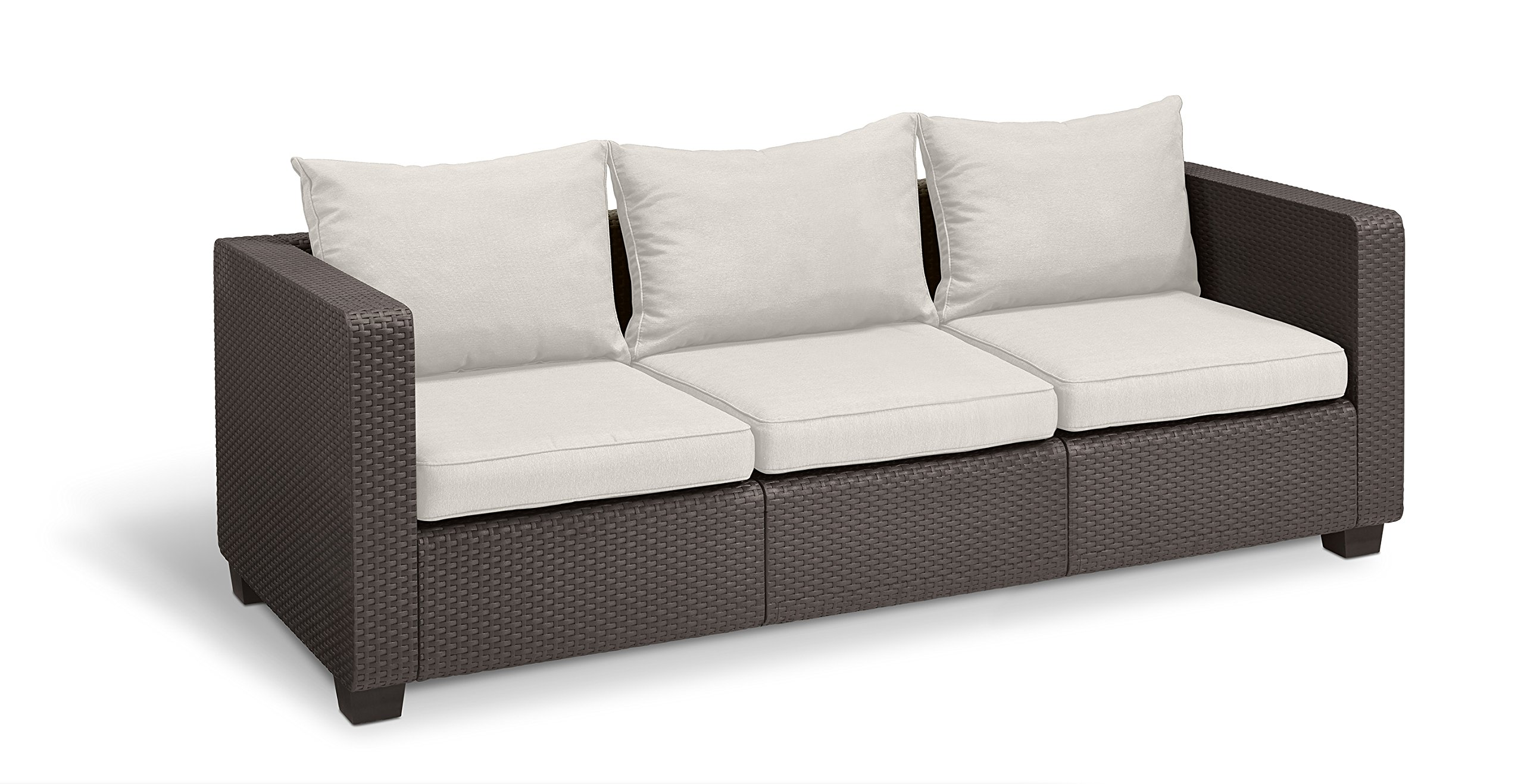 Keter Salta 3-Seater Seating Patio Sofa with Sunbrella Cushions in a Resin Plastic Wicker Pattern, Rich Brown by Keter