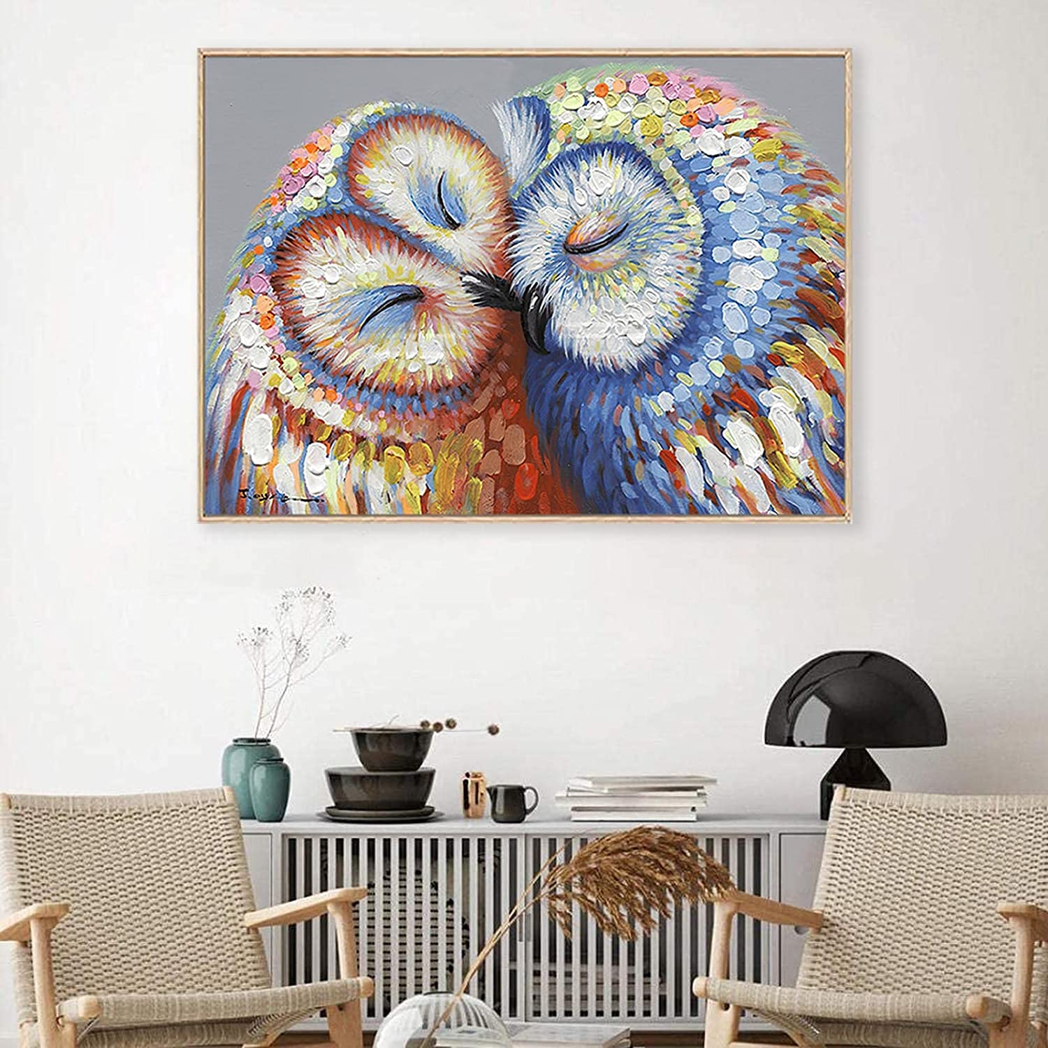 Owls Couple Wall Art Kissed Owls Couple Canvas Print Owl Wall Art Canvas Picture for Home Decor Owl Canvas Painting Wall Art for Living Room Bedroom Decor 20x28inch No Frame