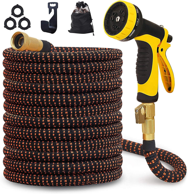 75ft Expandable Garden Hose 3750D Triple Extentions 10 Function Nozzle Lightweight Flexible Water Hose 75 ft Latex Core 3/4