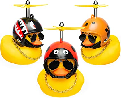 Sunglasses Gold Chain Kids Gift 3 Pack Rubber Duck Toy Car Ornaments Car Dashboard Decorations Superhero Series Rubber Ducks with Propellers Helmet