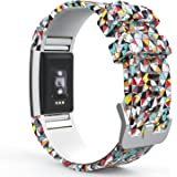 """MoKo Fitbit Charge 2 Bracelet, Watch Band de Remplacement Ajustable en Silicone Souple, Suivi de la fréquence Cardiaque 5.70""""-8.26""""(145mm-210mm), Diamants colorés"""