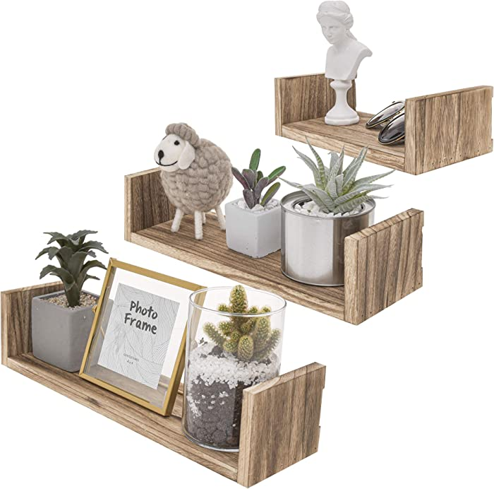 StorageWorks Floating Shelf Set, Rustic Wood Wall Storage Shelves, Wall Mounted Shelf Organizer Set of 3 for Living Room, Bedroom, Kitchen, Bathroom, Office, Light Carbon