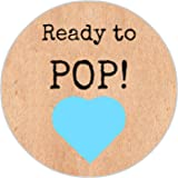 24 Vintage Baby Shower Heart Ready To Pop Party Bag Thank You Sweet Cone Stickers Labels - DE2