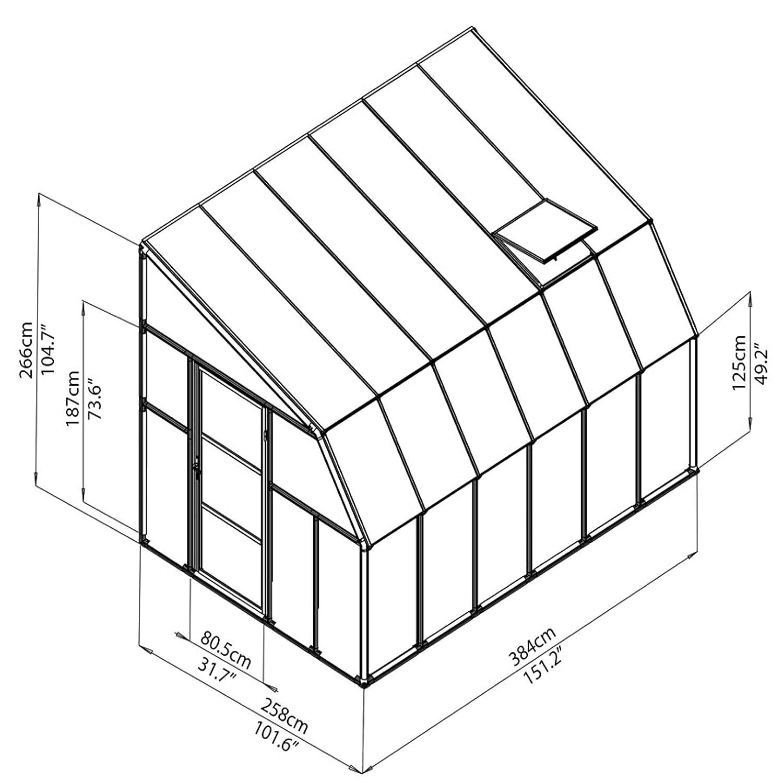 TxBxH RION Kunststoff Anlehngew/ächshaus // Wintergarten Sun Room 46 + Dachfenster 384 x 258 x 266cm