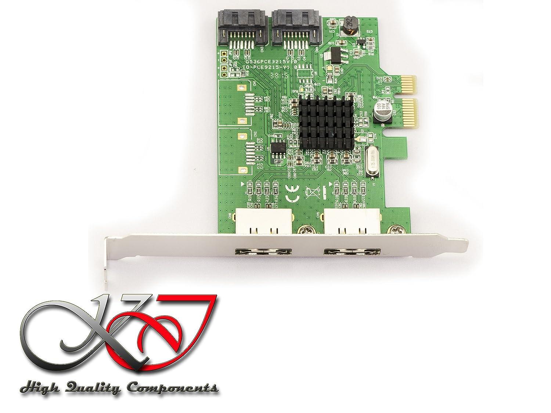 2 x externe eSATA-Ports Kalea Informatique PCI-Express-Karte mit Low-Profile- und High-Profile-Metallenden PCIe Chipsatz Marvell 88SE9215 4 x SATA-3-Ports: 2 x interne Ports