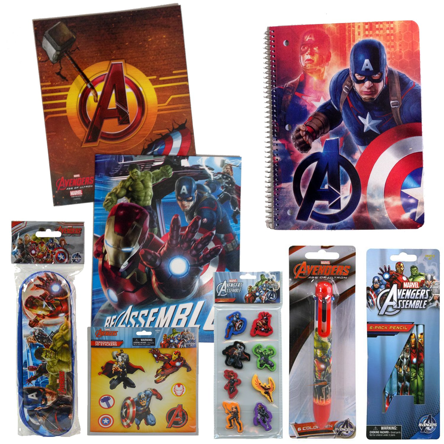 Marvel Avengers Back to School Supplies Bundle - 2 Folders, 1 Notebook, Pencils, Erasers, 6-Color Pen, Pencil Pouch & Stickers