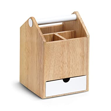 Umbra Toto Storage Box (Tall), Perfect for Organizing Makeup, Brushes, Jewelry, Stationary, and More, Birch Wood/White Metal Finish