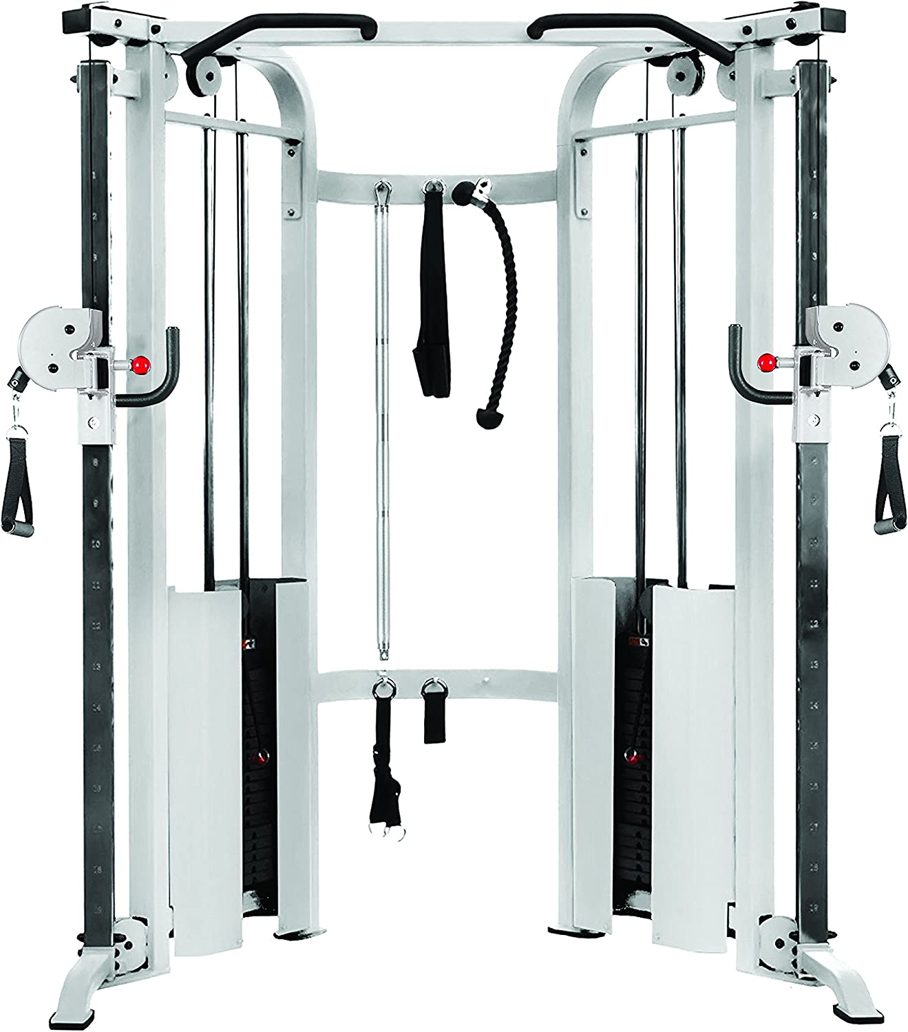 XMark Functional Trainer Cable Machine with Dual 200 lb Weight Stacks, 19 Adjustments, and Accessory Package XM-7626 White