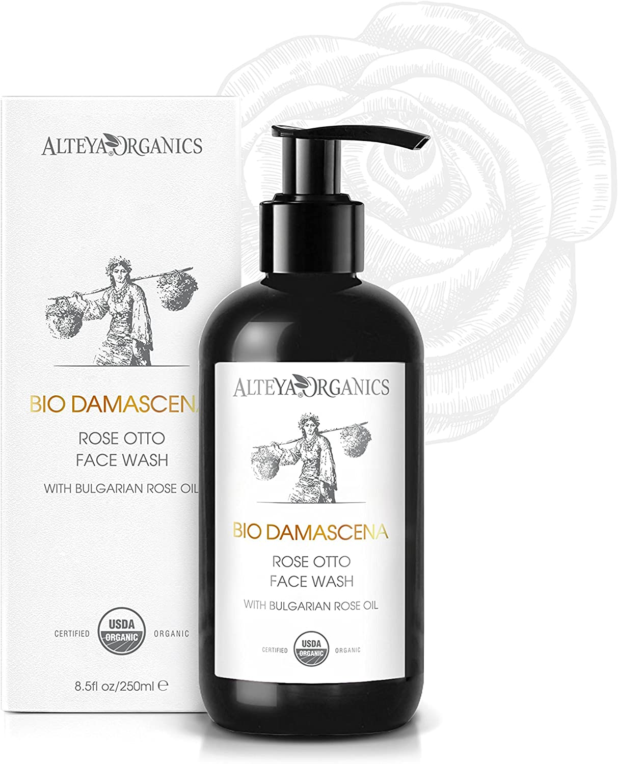 "Alteya USDA Organic Face Wash ""BioDamascena"" - With Organic Bulgarian Rose Oil, Award-Winning, 8.5 Fl Oz/ 250ml"